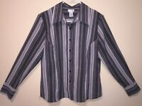 EAST 5TH Womens Black & White Stripe Fitted Long Sleeve Blouse Shirt Top Large