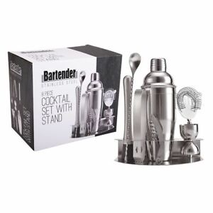 8 Piece Set Cocktail Shaker Stainless Steel Bartender Barware Tools with Stand