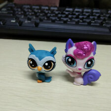 2pcs Littlest Pet Shop LPS Pink Squirrel &  Blue owl Cute Figure Toy Xmas Gift