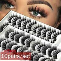 SKONHED 10 Pairs 3D Mink False Eyelashes Wispy Cross Fluffy Extension Lashes