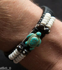 BRACELET en CUIR & MACRAME / TORTUE & OS / Ajustable /15-20cm / TURTLE / LEATHER