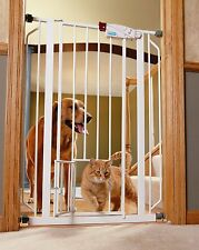 Pressure Mount Metal Baby Pet Dog Steel Gate with Cat hole door flap Extra Tall