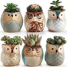 Pots Sun-E 2.5 Inch Owl Ceramic Flowing Glaze Base Serial Set Succulent Plant A
