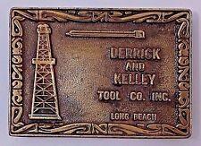 VINTAGE 1970s DERRICK & KELLEY TOOL CO. LONG BEACH, SOLID BRASS BELT BUCKLE