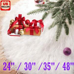 Christmas Tree Skirt Plush Floor Faux Fur Mat Home Xmas Snowflake Cover Ornament