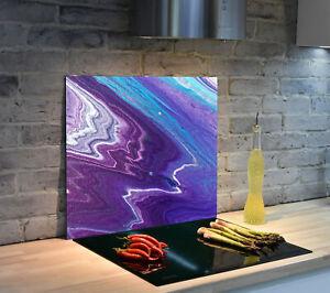 Glas Herdabdeckplatte für Küche Herdabdeckung Marmor Psychodelisch, Blauermarmor