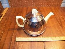 Vintage Ceramic REGAL DESIGN Tea Pot 877448 w Chrome Metal Cover