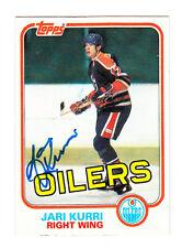 1981-82 TOPPS SIGNED ROOKIE CARD JARI KURRI OILERS KINGS RANGERS FINLAND HOF 18
