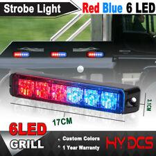 6LED Red Blue Car Emergency Warning Hazard Beacon Flashing Strobe Light Bar 12V