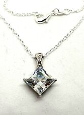"Jarkan Crystal Diamond Pendant Necklace Silver Plated Chain 20"" Length Lovely.."