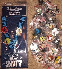 NEW Disney Parks Mickey Hat Lanyard 4 Pin Trading Starter Set 2017 w/ 50 Pins