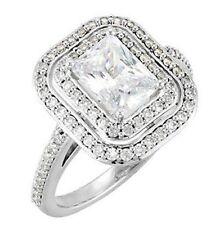 1 ct Emerald Cut Diamond Halo Engagement Wedding Ring VS1 clarity 14k White Gold