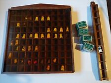 vintage 47 Thimbles collection w/ wooden displays of 100 & 10 Avon Birds States
