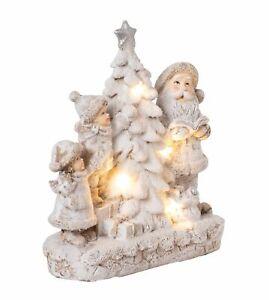 Dekofigur Winterkinder mit Santa-Claus LED beleuchtet Weihnachtsdeko innen Figur