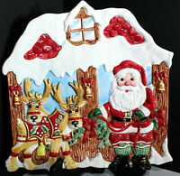 Fitz & Floyd Christmas Santa Reindeer Platter China Plate Holiday Kitchen Decor