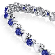 925 Sterling Silver Sapphire Heart Shaped Cubic Zirconia Puff Tennis Bracelet