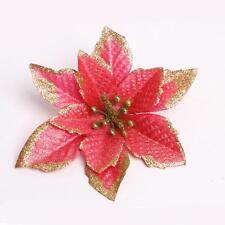 Glitter Hollow Christmas Flowers Tree Decorations Xmas Wedding Party Decor Q