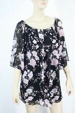 Forever New Black Floral Viscose Top Size 8