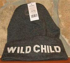 Ladies GARAGE WILD CHILD Winter Hat Toque Beanie Roll Up Grey Mix Acrylic Cuff