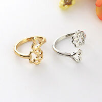 Women Gold/Silver Plated Hollow Pet Dog Paw Print Love Heart Open Ring Gift 17mm