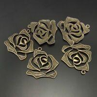 10pcs Vintage Bronze Alloy Hollow Flower Pendants Charms Jewelry DIY Accessories