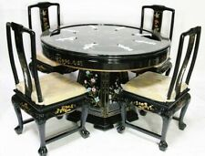 Oriental dining room set furniture dinettes black lacquer with mother of pearl