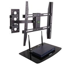 26-50'' TV Wall Bracket Mount with Single Glass Shelf Component For DVD Sky Xbox