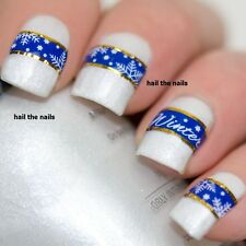 Nail WRAPS Nail Art Water Transfers Decals Christmas Snow Gold Y133