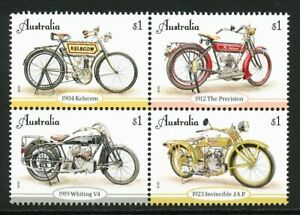 Australian 2018 Vintage Motorcycles, set of 4 in a block of 4 mint never hinged