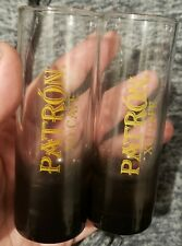 Patron Tequila Double Shot Glass Tinted Tall glass XO Cafe set of 2