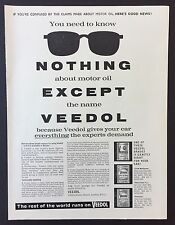 Magazine Advert VEEDOL MOTOR OIL Engine CAR 1961 Full Page VINTAGE