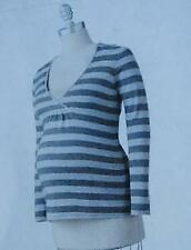 Oh Baby Motherhood Maternity Sweater Gray Striped Surplice Size S NWT MSRP $56