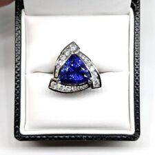 925 Sterling Silver Trillion Cut Natural Tanzanite Gemstone AD Handmade Ring