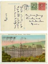 1929 Montreal Canada pc with both US and Canadian stamps tied together