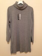 Be Jealous Woman's UK 20 - 22 Cowl Neck Grey Long Sleeved Knit Jumper Dress BNWT