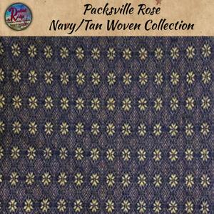 "Primitive Colonial Packsville Rose Navy & Tan TABLE RUNNER  32"" 56"" 34 Topper"