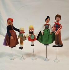 5 German Miniature Cloth Dolls on Wire Stands BAPS Puppets
