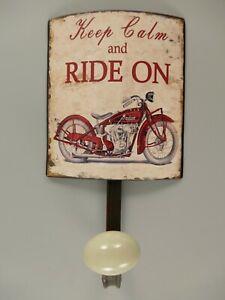 9977675 Hook Rail Wardrobe Metal Motorcycle Vintage 21x12cm
