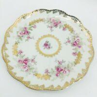 "Vintage Royal Vienna Plate Gold Gilded Scalloped Edge Pink Roses 10"" Porcelain"