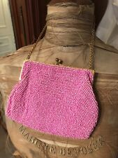 Antique Embroidered Deco Cotton Candy Pink Round Seed Glass Beaded