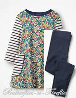 NWT MINI BODEN 2pc Outfit Set Flowerbed & Navy Striped Tunic Leggings Girls 7-8