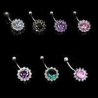 Rhinestone Flower Navel Ring Silver Plated Belly Button Body Piercing Jewelry