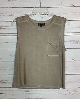 POL Anthropologie Women's M Medium Olive Brown Sleeveless Spring Summer Top Tank