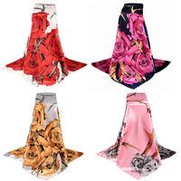 EB_ BU_ Women Print Satin-Silk Square Scarf Wrap Lady Shawl Beach Scarves Stole