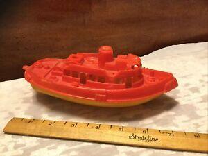 "Vintage Thomas Toy 7-1/2"" Hard Plastic Yellow/Red Tug Boat"