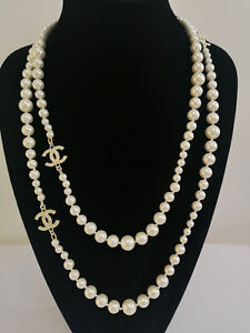 """CHANEL NIB Gold Pearl Necklace 3 CC Logo Chain Classic Necklace Size 60"""""""