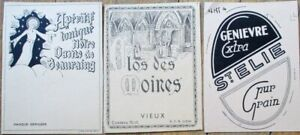 THREE Printer's Proof 1930s Bottle Labels - Genievre, Wine, Holy Mother