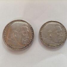 ALLEMAGNE IIIe Reich HINDENBURG 5 marks1936G et 2 marks 1937A argent
