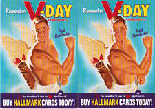 2 Postcard Lot Hallmark Valentine's Day Sexy Hot Muscle Man with Angel Wings Gay