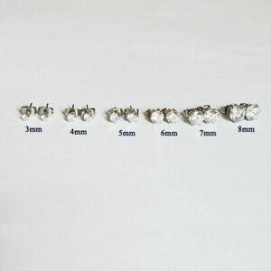 3mm-8mm Men Women Stainless Steel Round CZ Stud Earrings Total 6 pairs set P30